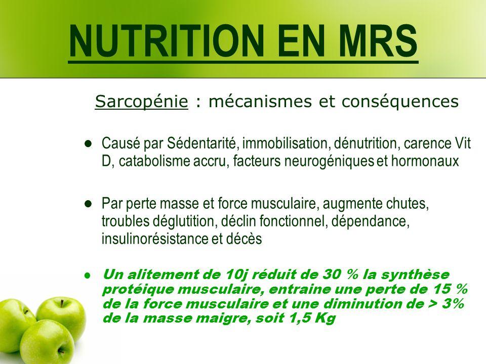 NUTRITION EN MRS Sarcopénie : mécanismes et conséquences