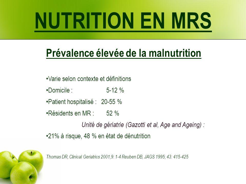 NUTRITION EN MRS Prévalence élevée de la malnutrition