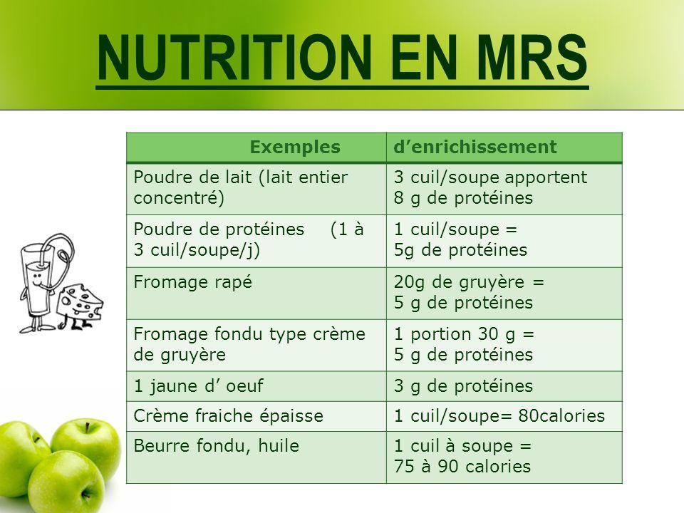 NUTRITION EN MRS Exemples d'enrichissement