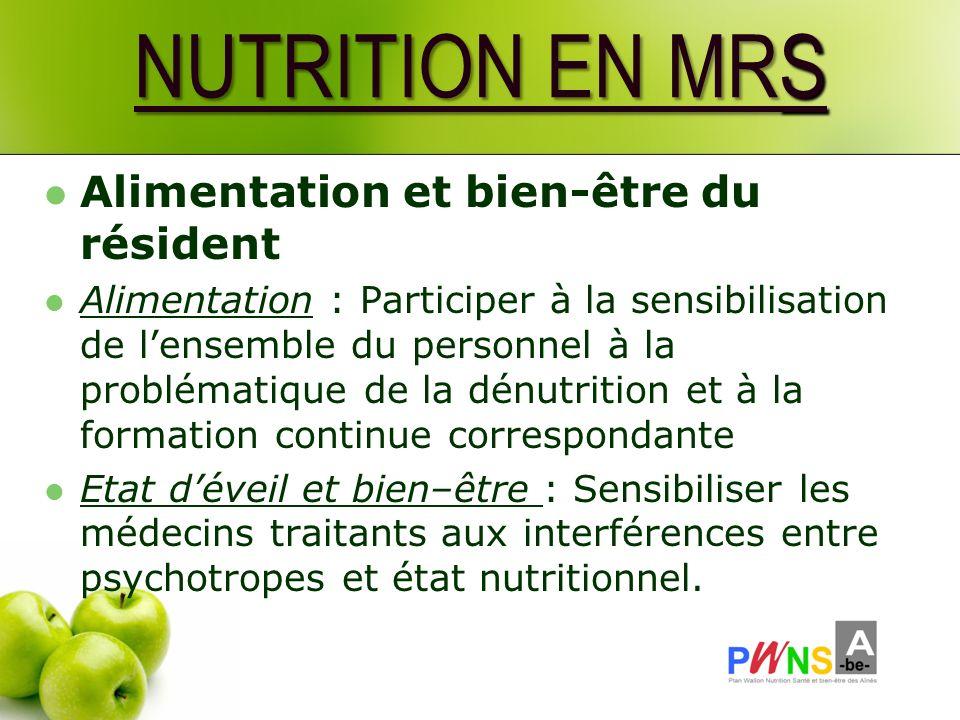 NUTRITION EN MRS Alimentation et bien-être du résident