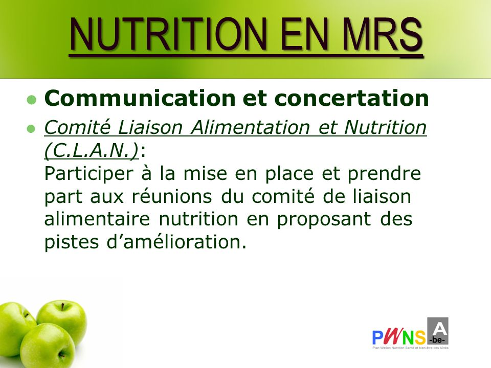NUTRITION EN MRS Communication et concertation