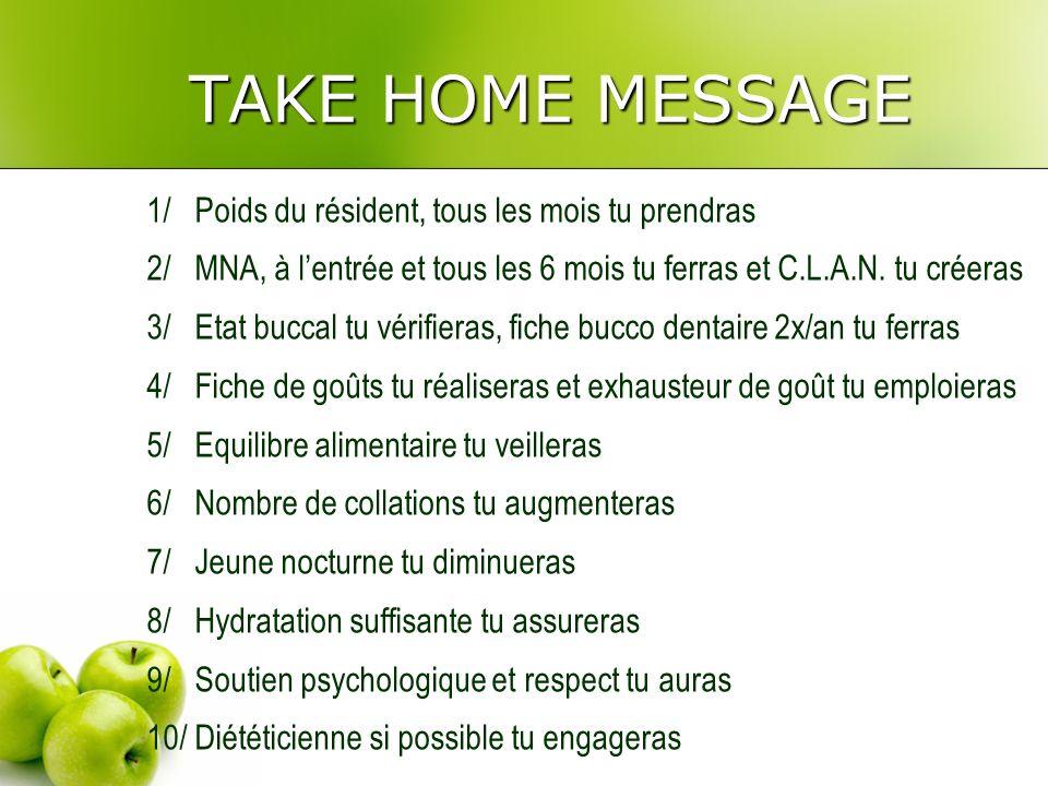 TAKE HOME MESSAGE 1/ Poids du résident, tous les mois tu prendras