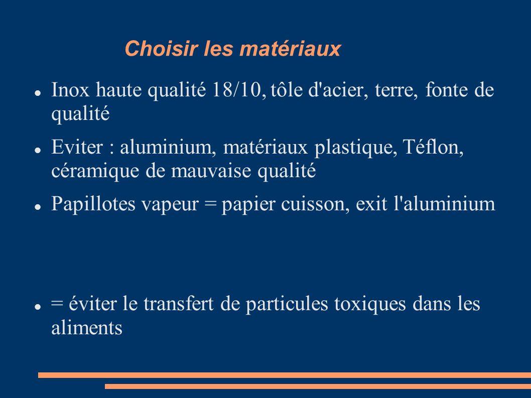 Inox haute qualité 18/10, tôle d acier, terre, fonte de qualité