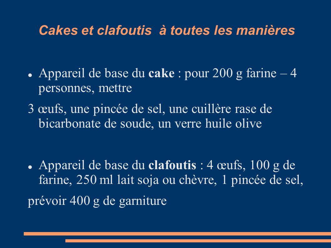 Cakes et clafoutis à toutes les manières