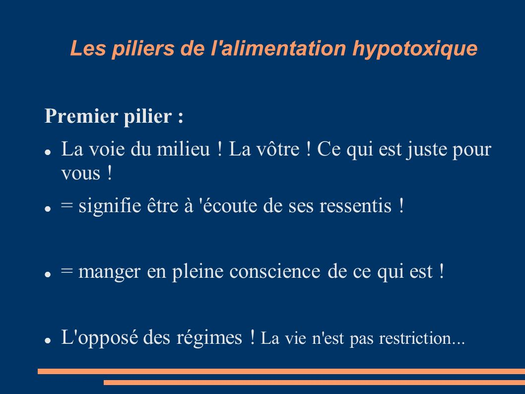 Les piliers de l alimentation hypotoxique