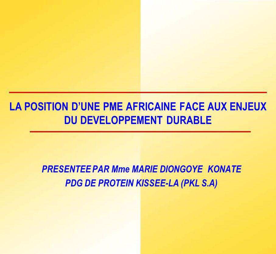 LA POSITION D'UNE PME AFRICAINE FACE AUX ENJEUX DU DEVELOPPEMENT DURABLE