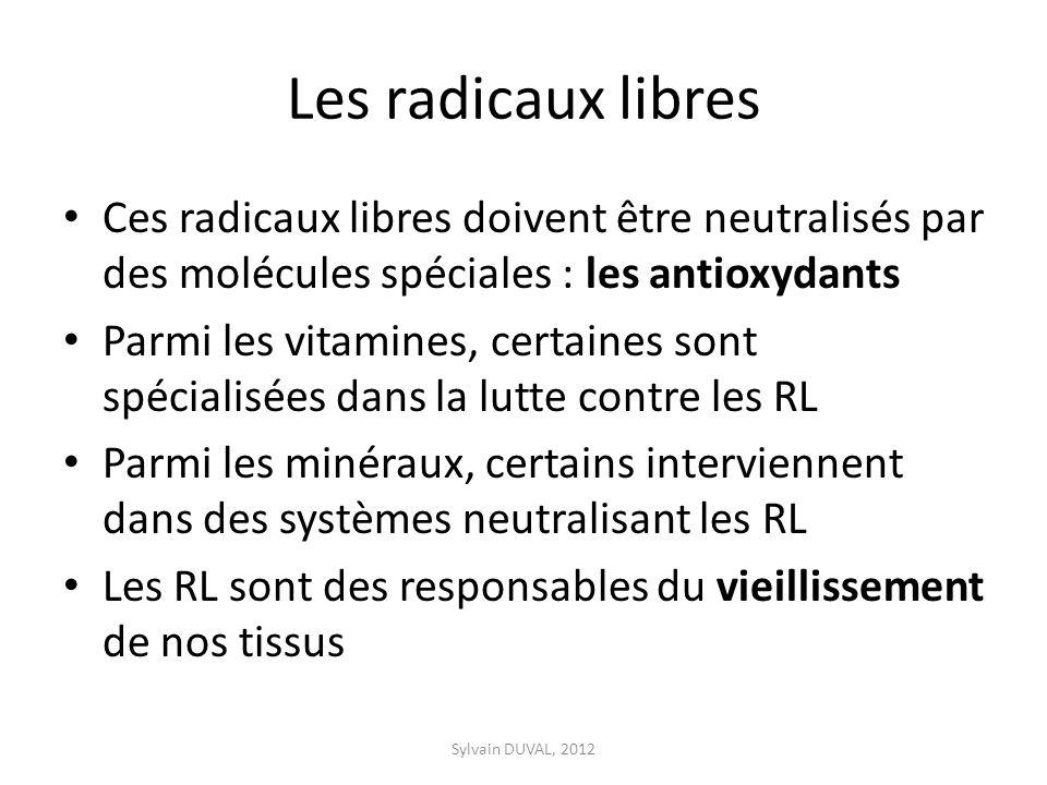 Les radicaux libres Ces radicaux libres doivent être neutralisés par des molécules spéciales : les antioxydants.
