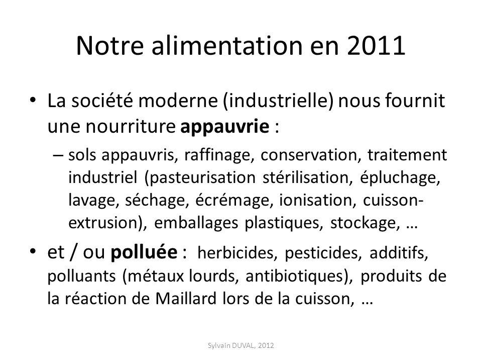 Notre alimentation en 2011 La société moderne (industrielle) nous fournit une nourriture appauvrie :