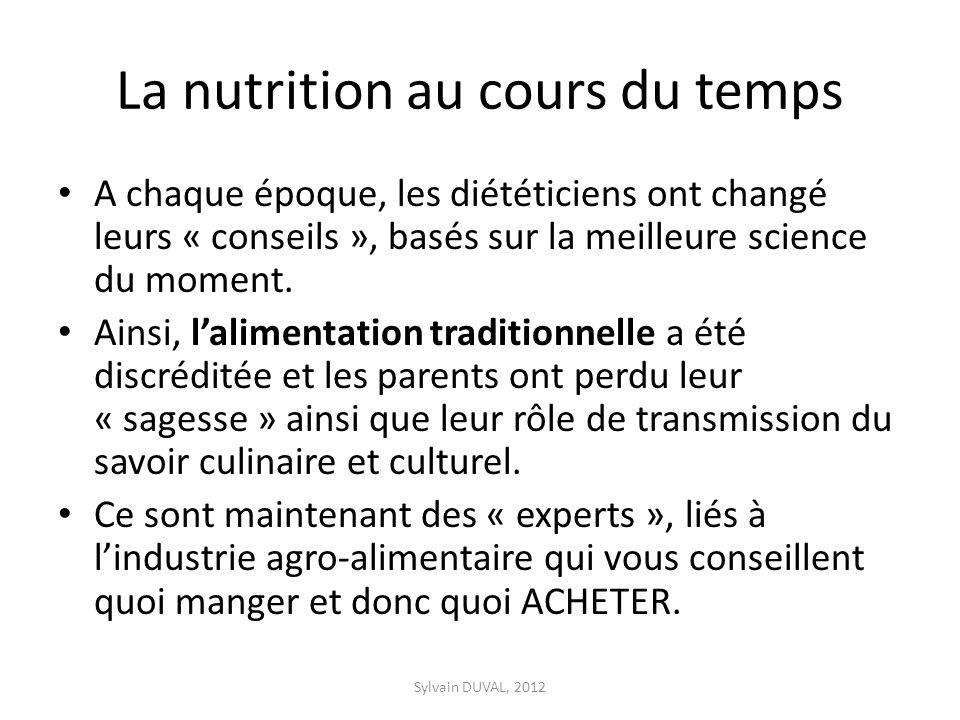 La nutrition au cours du temps