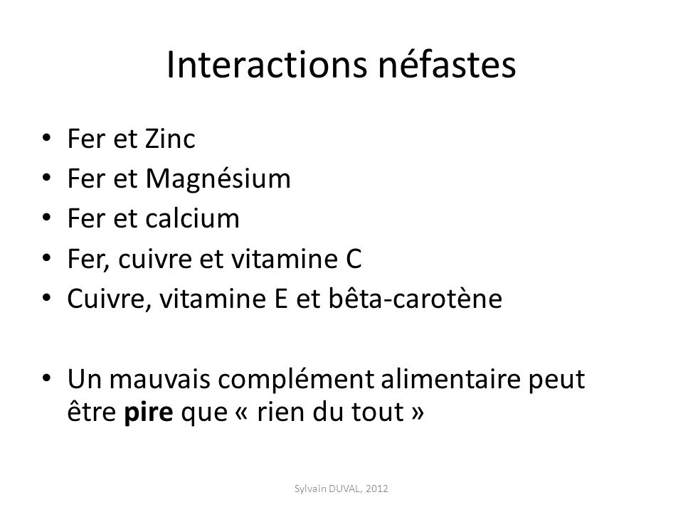 Interactions néfastes