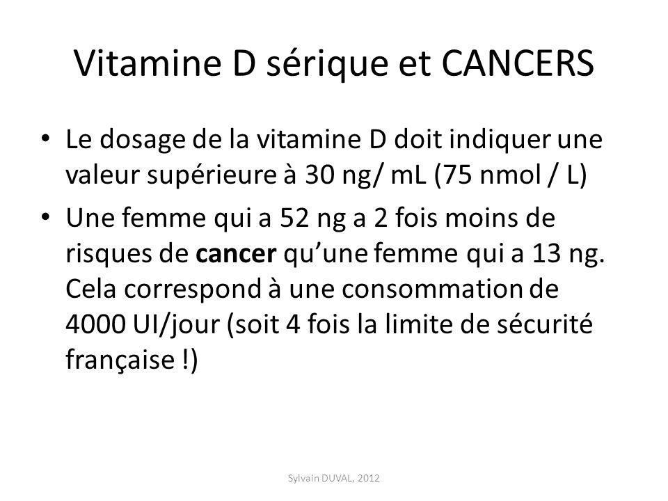 Vitamine D sérique et CANCERS