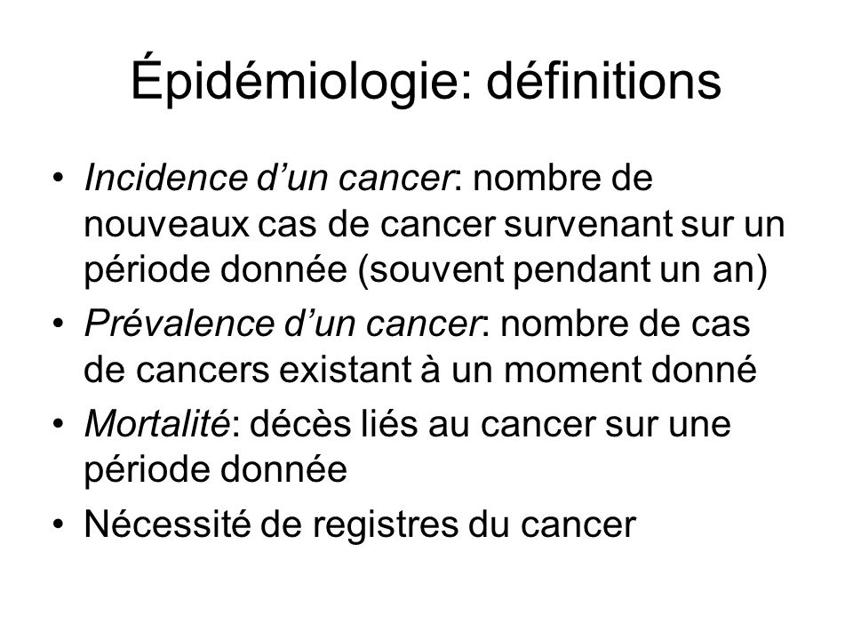 Épidémiologie: définitions