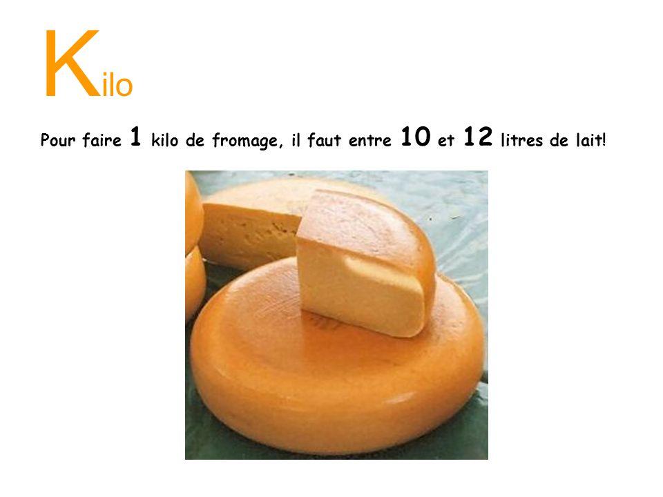 Kilo Pour faire 1 kilo de fromage, il faut entre 10 et 12 litres de lait!