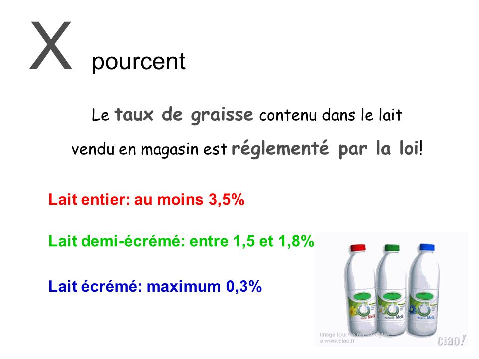 X pourcent Le taux de graisse contenu dans le lait