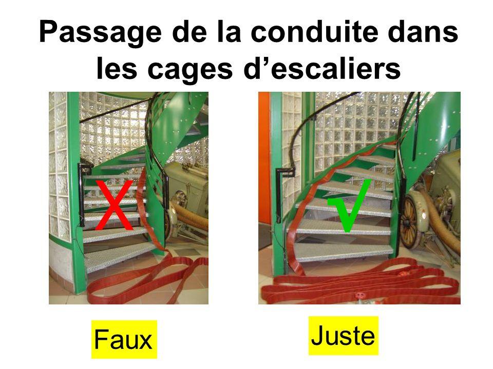 Passage de la conduite dans les cages d'escaliers