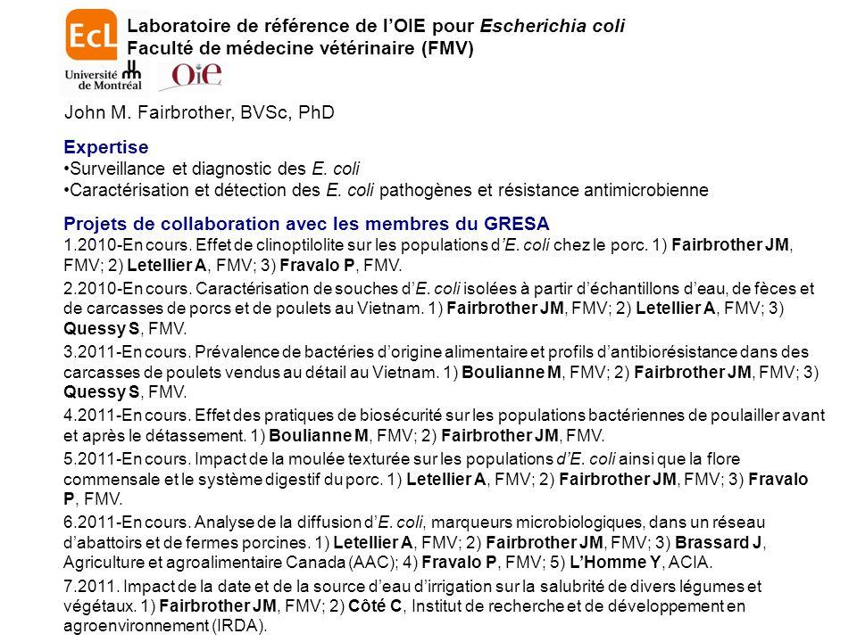 Laboratoire de référence de l'OIE pour Escherichia coli