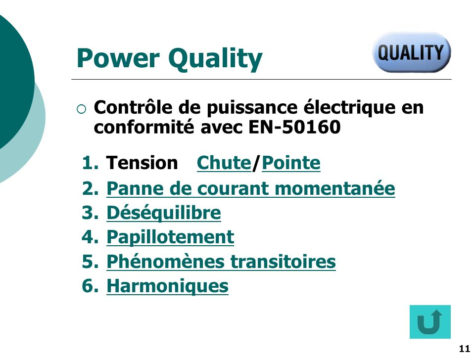 Power Quality Contrôle de puissance électrique en conformité avec EN-50160. Tension Chute/Pointe. Panne de courant momentanée.