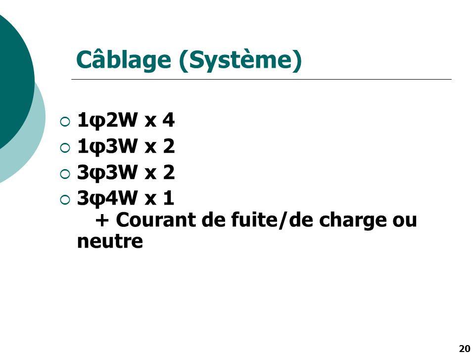 Câblage (Système) 1φ2W x 4 1φ3W x 2 3φ3W x 2