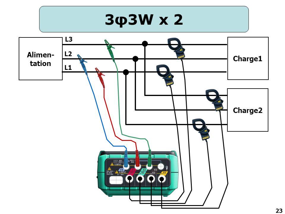 3φ3W x 2 L3 Alimen-tation Charge1 L2 L1 Charge2