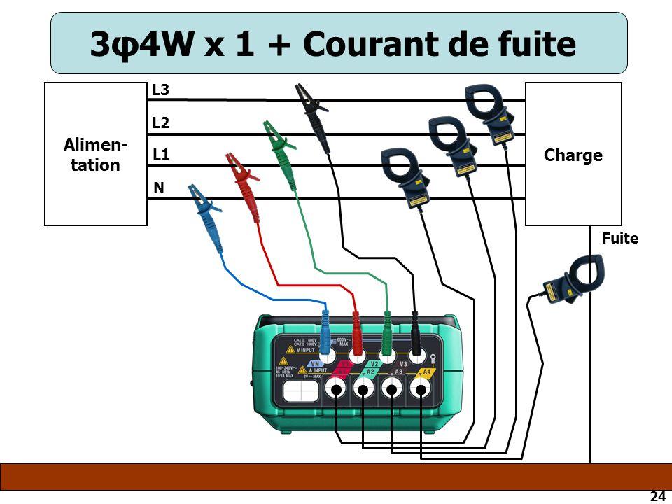 3φ4W x 1 + Courant de fuite L3 Alimen-tation Charge L2 L1 N Fuite