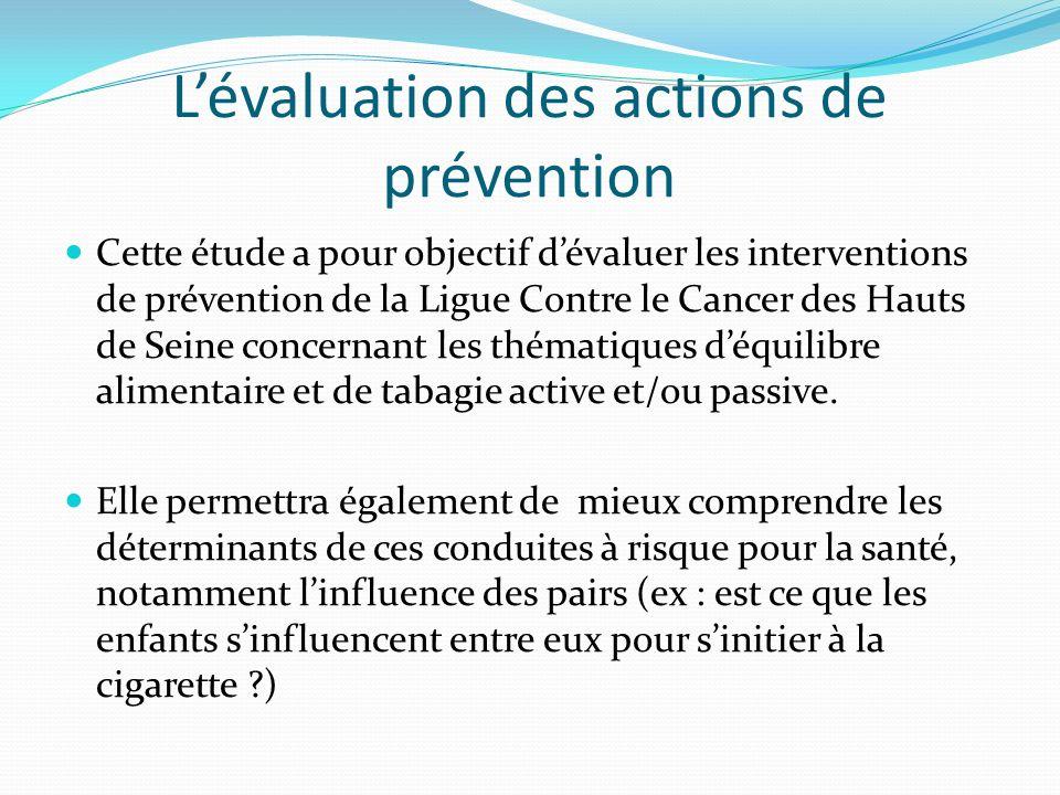 L'évaluation des actions de prévention