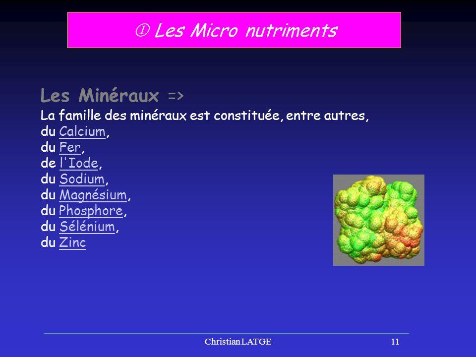  Les Micro nutriments Les Minéraux =>