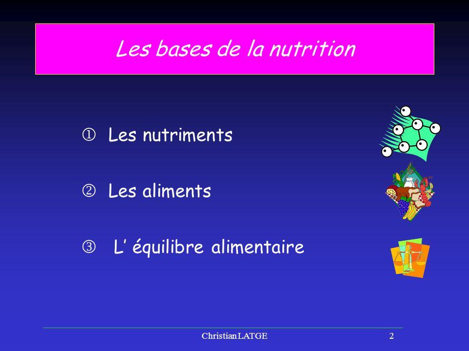Les bases de la nutrition