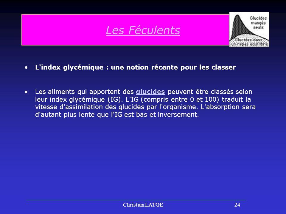 Les Féculents L index glycémique : une notion récente pour les classer