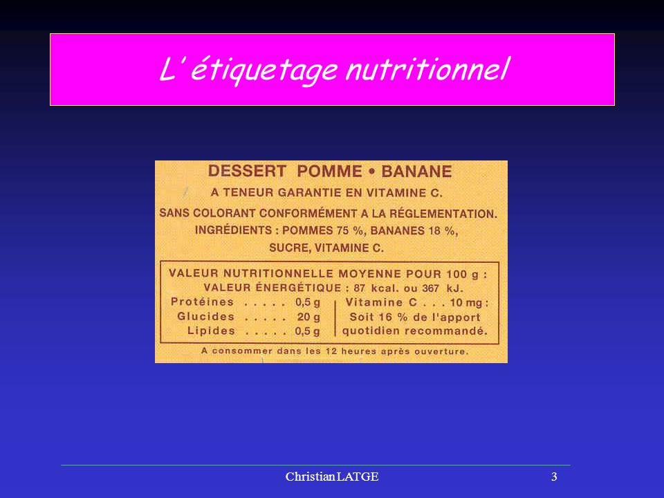 L' étiquetage nutritionnel