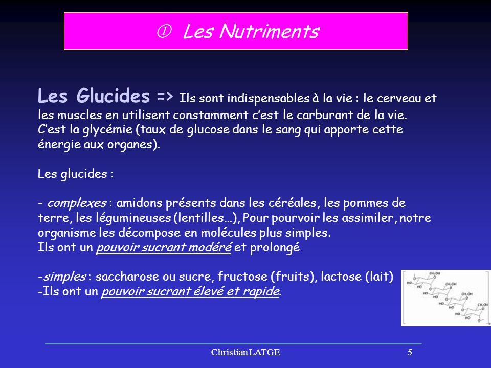  Les Nutriments Les Glucides => Ils sont indispensables à la vie : le cerveau et les muscles en utilisent constamment c'est le carburant de la vie.