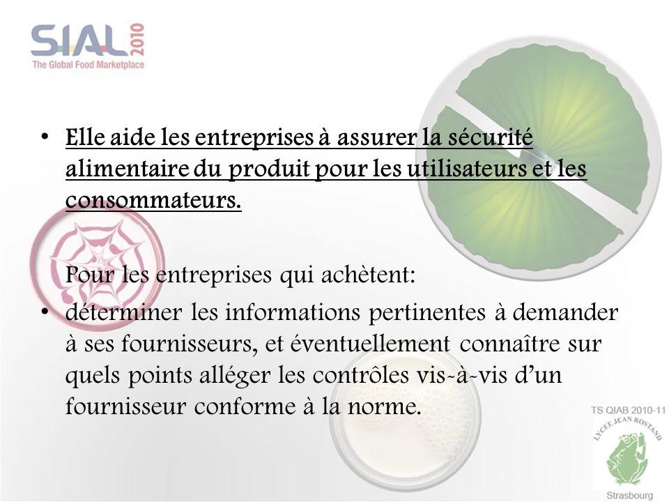 Elle aide les entreprises à assurer la sécurité alimentaire du produit pour les utilisateurs et les consommateurs.