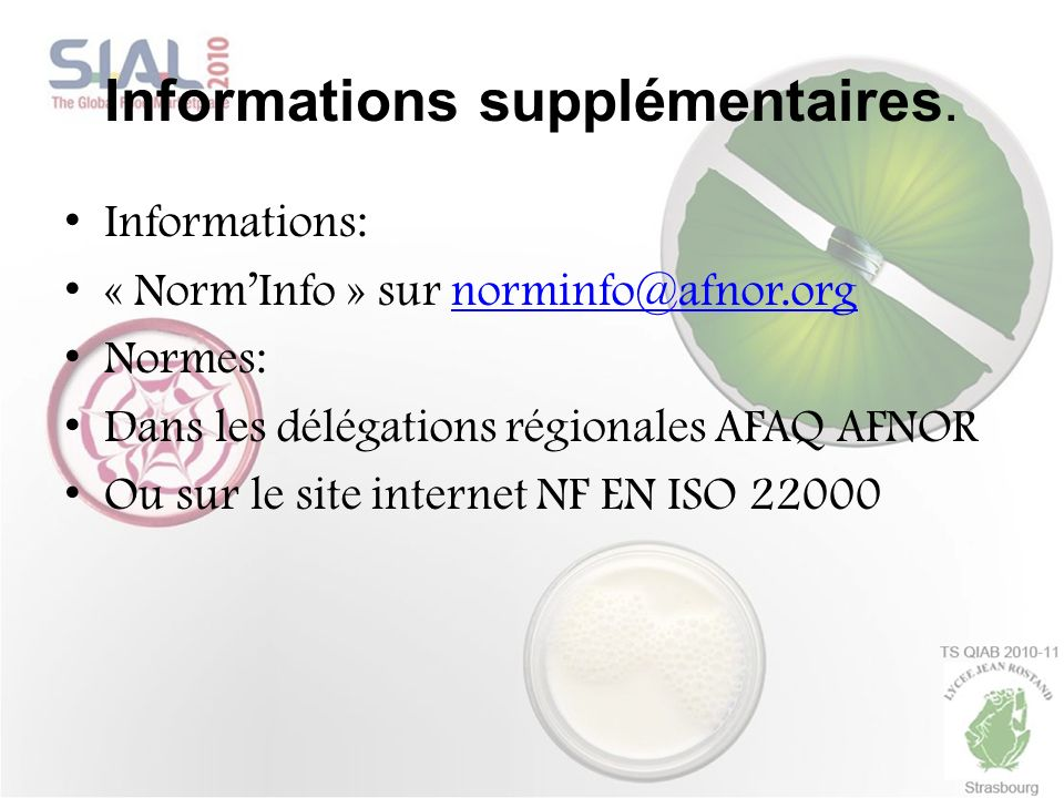 Informations supplémentaires.