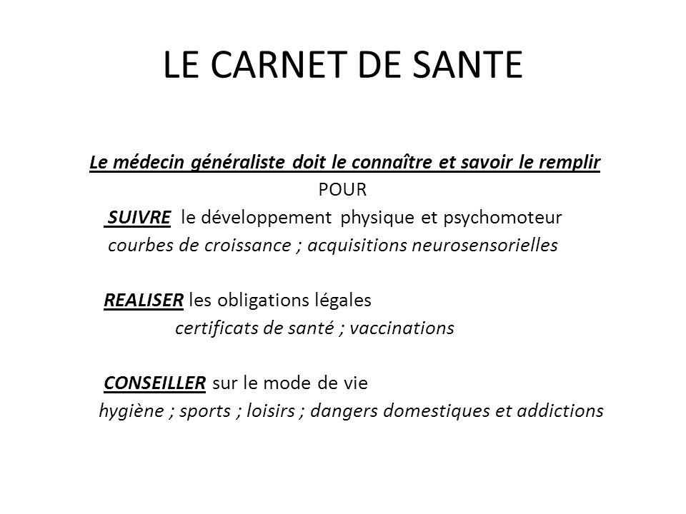 LE CARNET DE SANTE Le médecin généraliste doit le connaître et savoir le remplir. POUR. SUIVRE le développement physique et psychomoteur.