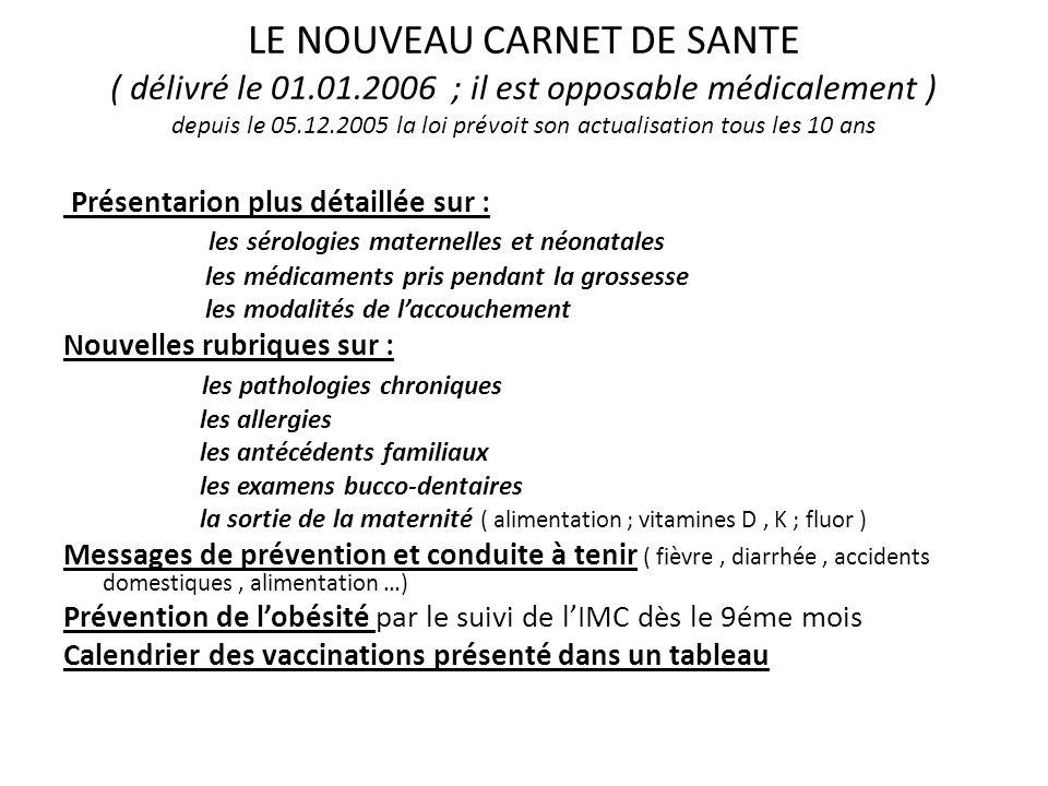 LE NOUVEAU CARNET DE SANTE ( délivré le 01. 01
