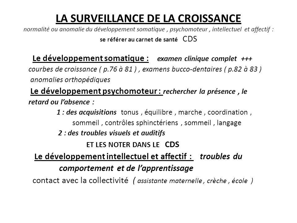 LA SURVEILLANCE DE LA CROISSANCE normalité ou anomalie du développement somatique , psychomoteur , intellectuel et affectif : se référer au carnet de santé CDS