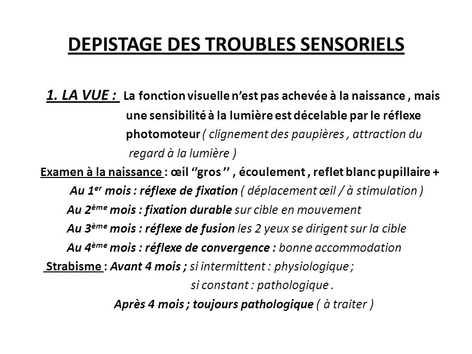 DEPISTAGE DES TROUBLES SENSORIELS