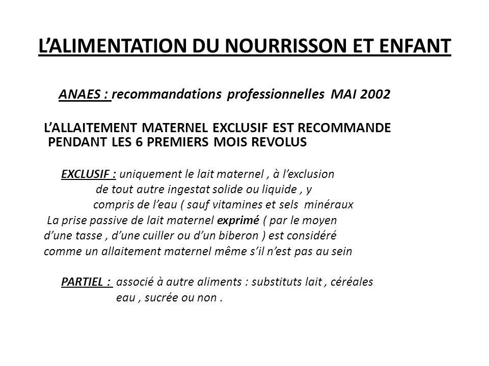 L'ALIMENTATION DU NOURRISSON ET ENFANT