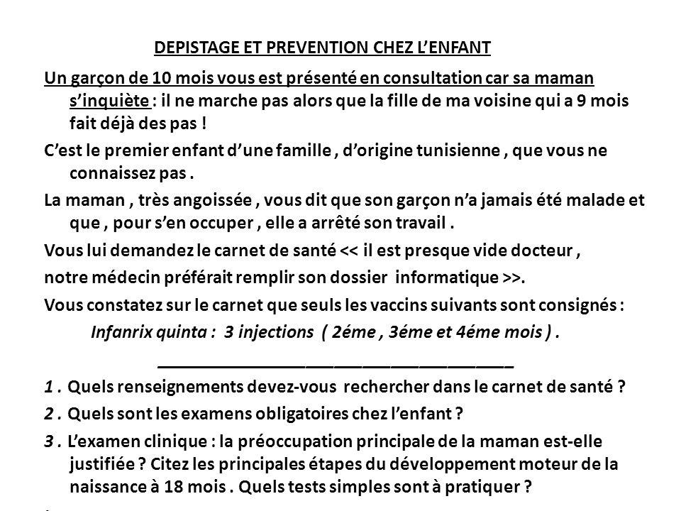 DEPISTAGE ET PREVENTION CHEZ L'ENFANT