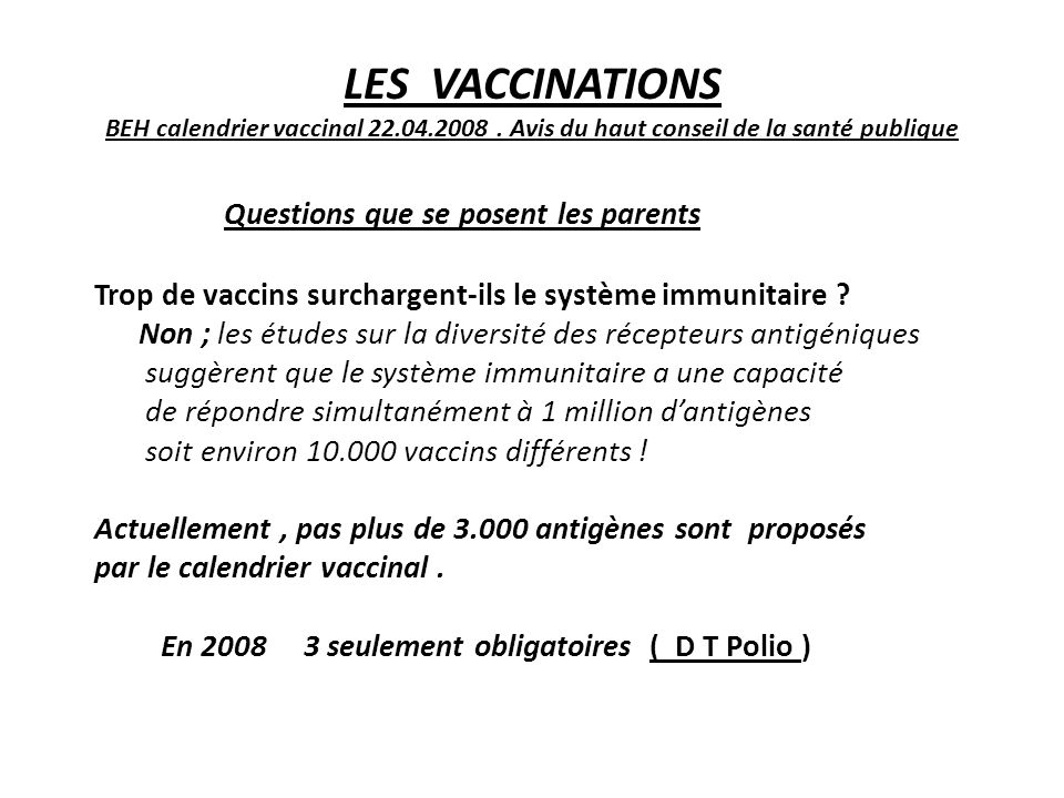 LES VACCINATIONS BEH calendrier vaccinal 22. 04. 2008