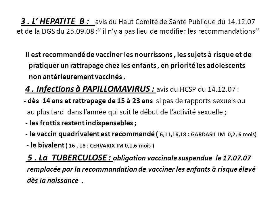 3. L' HEPATITE B : avis du Haut Comité de Santé Publique du 14. 12