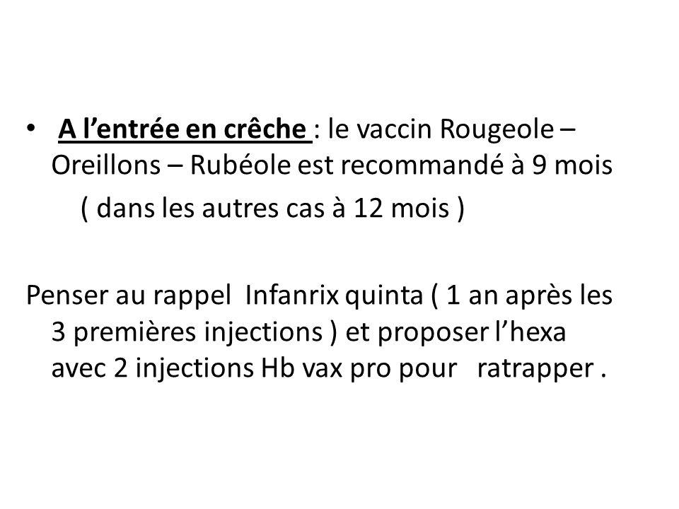 A l'entrée en crêche : le vaccin Rougeole – Oreillons – Rubéole est recommandé à 9 mois