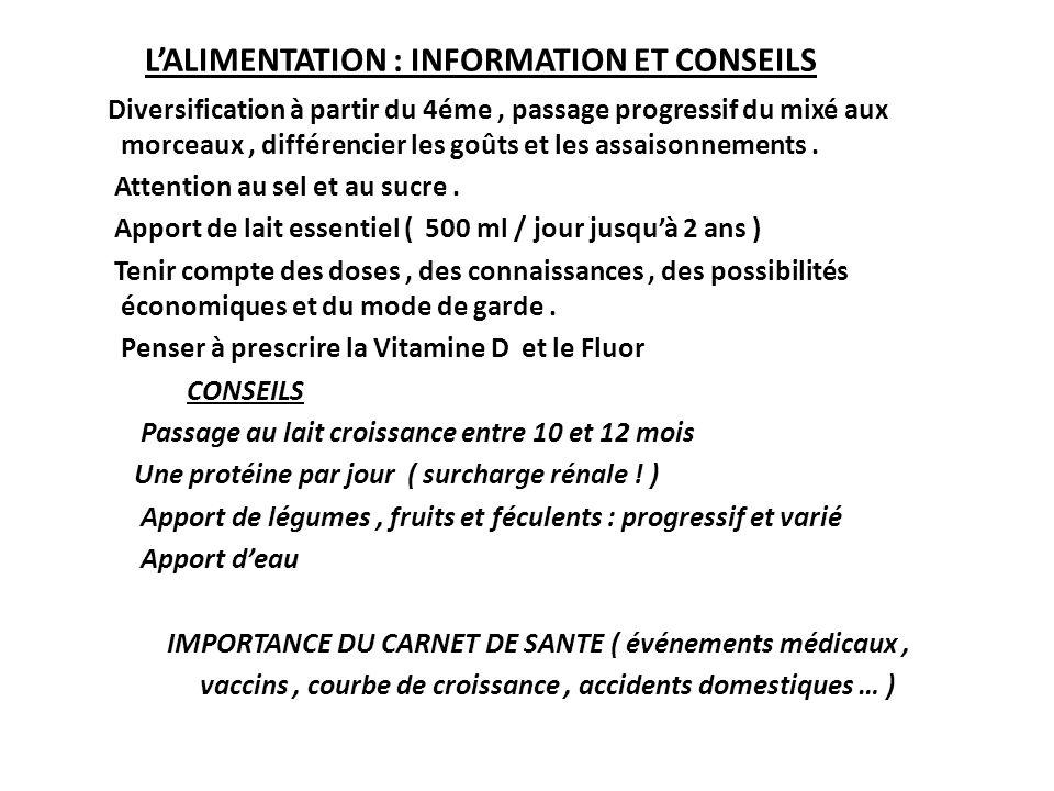 L'ALIMENTATION : INFORMATION ET CONSEILS