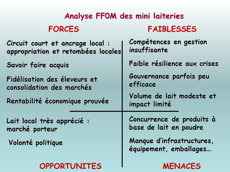 Analyse FF0M des mini laiteries