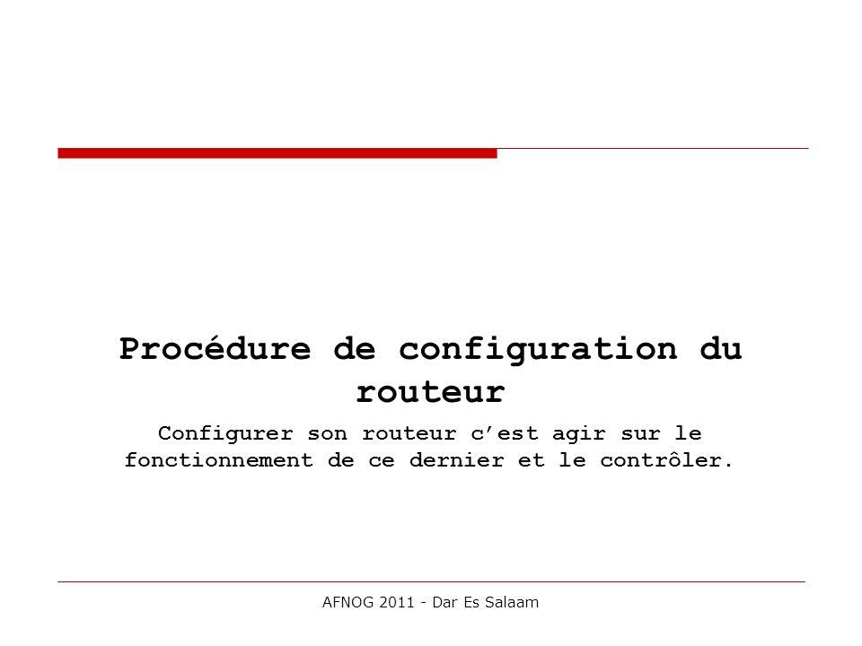 Procédure de configuration du routeur
