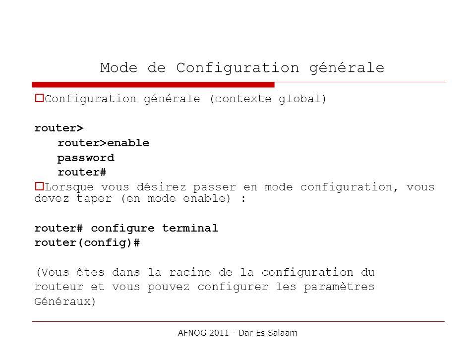 Mode de Configuration générale