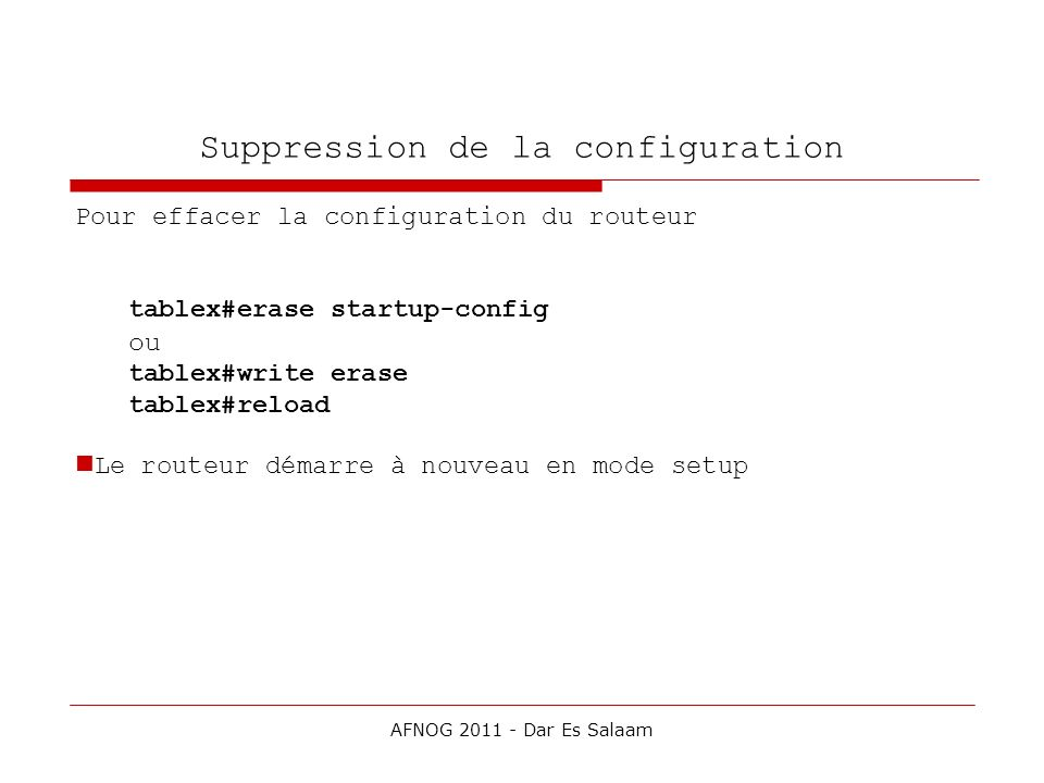 Suppression de la configuration