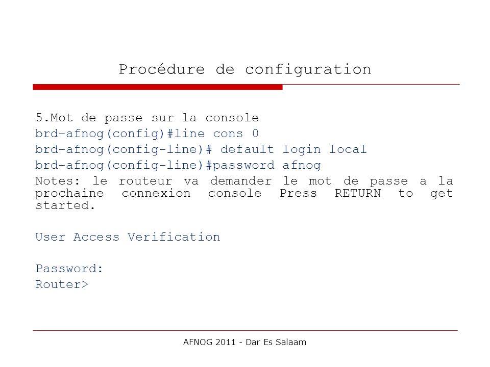 Procédure de configuration