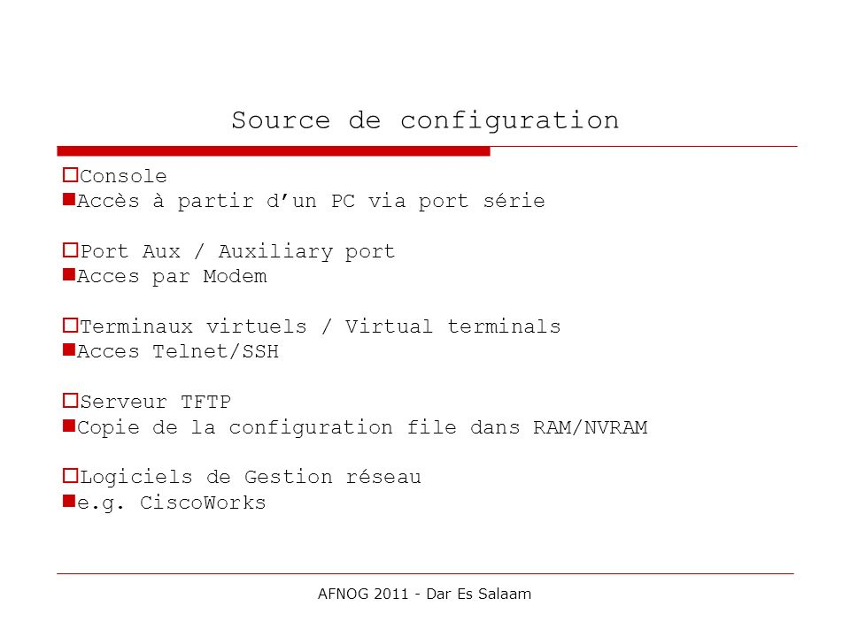 Source de configuration