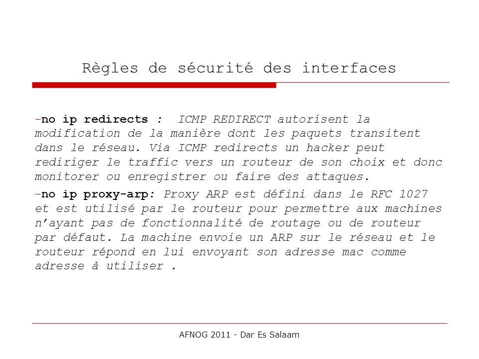 Règles de sécurité des interfaces