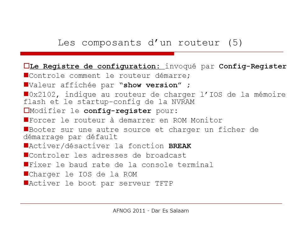 Les composants d'un routeur (5)